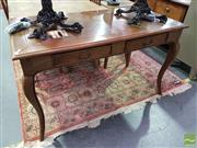 Sale 8532 - Lot 1036 - Parquetry Top Timber Table with Two Drawers