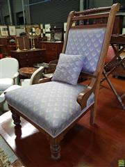 Sale 8598 - Lot 1078 - Edwardian Possibly Coachwood Ladys Chair, with spindle gallery & upholstered in a blue cube patterned fabric