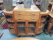 Sale 8669 - Lot 1075 - Art Deco Silky Oak Sideboard with Mirrored Back