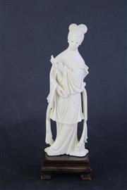 Sale 8818 - Lot 263 - Carved Ivory Figure Of A Woman H:20cm (AF/Some losses)