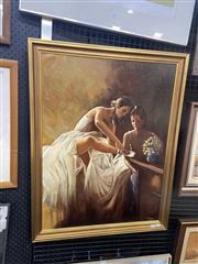 Sale 8995 - Lot 2023 - Artist Unknown Ballerinas in Dress Room oil on canvas on board, 88 x 68cm (frame) signed lower right