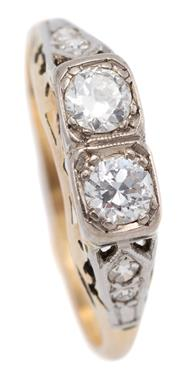 Sale 9074 - Lot 381 - A VINTAGE 18CT GOLD DIAMOND RING; set with 2 Old European cut diamonds totalling approx. 0.36ct, VS & SI to upswept shoulders set wi...