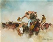 Sale 9084 - Lot 574 - Patrick Kilvington (1922 - 1990) - Them Scrubber Bastards 18 x 23.5 cm (frame: 40 x 45 x 3 cm)