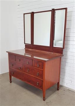 Sale 9154 - Lot 1038 - Edwardian inlaid mirrored back dresser (h:178 x w:125 x d:63cm)