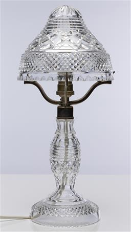 Sale 9245R - Lot 30 - Excellent quality elaborate hand cut lead crystal table lamp C: 1930s, rewired, Ht: 37cm