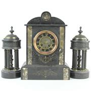 Sale 8399 - Lot 40 - French Black Slate Mantle Clock Garniture