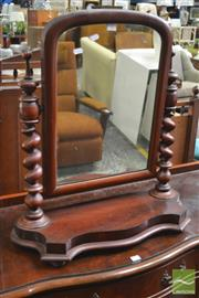 Sale 8402 - Lot 1068 - Victorian Mahogany Toilet Mirror, on barley twist supports