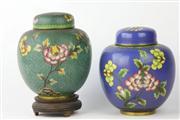 Sale 8461 - Lot 83 - Cloisonne Lidded Urns on Stand
