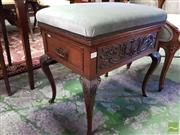 Sale 8539 - Lot 1039 - Late Victorian/ Edwardian Mahogany Piano Stool, with hinged blue velvet seat & side drawer, carve floral frieze & on cabriole legs