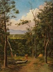 Sale 8624 - Lot 560 - James Howe Carse (1819 - 1900) - Runaway Bull, Kangaroo Valley 31 x 23cm