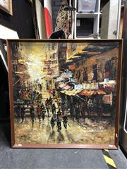 Sale 8807 - Lot 2102 - Artist Unknown, Hong Kong Scene, acrylic on canvas, 79 x 80cm, signed lower left