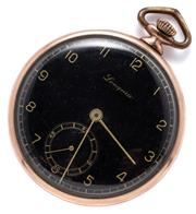 Sale 9046 - Lot 355 - A VINTAGE LONGEAU OPEN FACE POCKET WATCH; black dial, Arabic numerals, subsidiary seconds, Swiss 16 jewel stem wind and set movement...