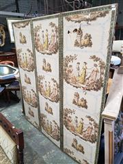 Sale 9031 - Lot 1089 - Possibly Regency Papier Peint Three Panel Screen, with alternating panels of Regency ladies playing blind mans bluff & a sheep rest...