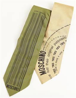 Sale 9092F - Lot 16 - TWO MOSCHINO SILK TIES in green and cream.