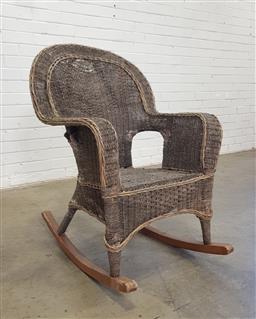 Sale 9146 - Lot 1040 - Seagrass rocking chair (h:100 x w:70 x d:46cm)