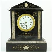 Sale 8372 - Lot 8 - Black Slate & Marble Mantle Clock
