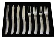 Sale 8391B - Lot 96 - Laguiole by Louis Thiers Organique 8-piece Steak Knife & Fork Set In Matte Finish RRP $250