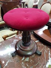 Sale 8634 - Lot 1079 - William IV/ Early Victorian Mahogany Piano Stool, with red velvet seat & turned carved pedestal & feet, partial cabinet makers pape...