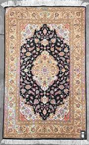 Sale 8917 - Lot 1084 - Small Signed Persian Silk Carpet, with medallion on black field