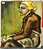 Sale 8949 - Lot 2062 - Artist Unknown - Seated Figure oil on board (unframed) 46 x 38cm, unsigned