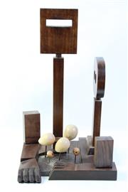 Sale 8994W - Lot 650 - Abstract Timber Ned Kelly Sculpture, signed John Lysaght (height 61.5cm