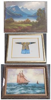 Sale 9053 - Lot 2082 - Three works including a J F. Hutchings Lake & Mount Scene, oil on board (unframed). Artist unknown, Maritime scene. Artist unknown,...