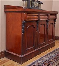 Sale 9080H - Lot 29 - A C19th Cedar three door three drawer sideboard with carved uprights on a plinth base, height 115cm x Width 154cm x Depth 56.5cm (wi...