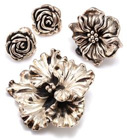 Sale 9115 - Lot 342 - SILVER FLOWER RING, PENDANT BROOCH AND EARRINGS; hollow sterling silver ring fashioned as a wild rose stamped 925 OF J THAE, size R,...