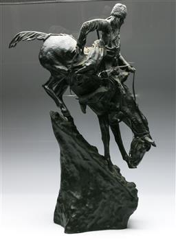 Sale 9138 - Lot 52 - Bronze Frederick Remington Horseman (H:69cm)