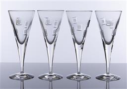 Sale 9245R - Lot 32 - A set of 4 Royal Doulton heavy lead crystal large champagne flutes, Ht: 21.5cm