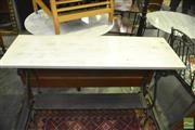 Sale 8383 - Lot 1320 - Timber Top Metal Base Consol Table
