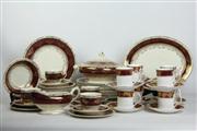 Sale 8461 - Lot 100 - Crown Ducal Red & Gilt Dinner Wares (AF) with Elizabethan Cup Saucer Combos
