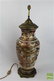 Sale 8501 - Lot 94 - Large Japanese Satsuma Vase Mounted as a Lamp