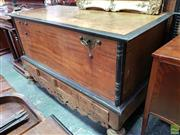 Sale 8576 - Lot 1013 - Very Large Ceylonese Satinwood & Ebony Mule Chest, in the Dutch colonial style, the stand inlaid & with four drawers, raised on turn...
