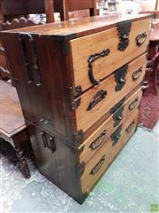 Sale 8598 - Lot 1015 - Japanese Pine & Camphor Tansu Chest, in two sections, with iron mounts & four drawers (H:101 W:90 D:42cm)