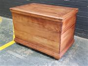 Sale 9048 - Lot 1076 - Large Pine Chest, with hinged top, the dove-tailed body with plinth base & probably later feet (H:66 W:93 D:58cm)