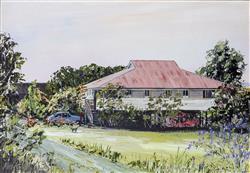 Sale 9093A - Lot 5045 - John Konstant ( 1947 - ) - Colonial Homestead - QLD 29 x 39 cm (frame: 61 x 71 x 4 cm)