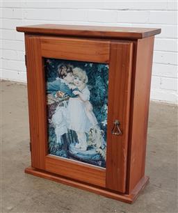 Sale 9146 - Lot 1050 - Pine single door wall mount cabinet (h:58 x w:47 x d:19cm)