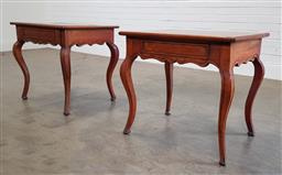 Sale 9196 - Lot 1054 - Pair of Louis XV Style Mahogany Side Tables, each with single drawer & raised on cabriole legs (h:62 x w:65 x d:55cm)