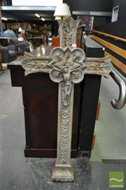 Sale 8485 - Lot 1098 - Large Cast Iron Crucifix, painted silver, modelled with ivy & grapes