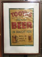 Sale 8643 - Lot 1028 - Vintage Tooths Draught Poster, framed