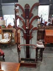 Sale 8700 - Lot 1053 - Victorian Mahogany Hall Tree, with six branches, small mirror & open stick stand (one hook incomplete, two replaced)