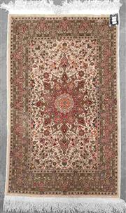 Sale 8917 - Lot 1062 - Small Signed Persian Silk Carpet, with radiating medallion in pink & cream tones
