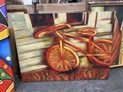 Sale 9041 - Lot 2058 - Artist Unknown The Vintage Bike acrylic, 91 x 120cm