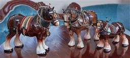 Sale 9103M - Lot 455 - A Melba ware glazed ceramic horse with accessories, Height 16.5cm, together with two smaller examples
