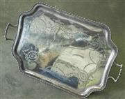 Sale 8319 - Lot 306 - Large silver plated 2 handle presentation tray by Hardy Brothers, presented to AJ Minto of Brisbane