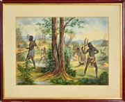 Sale 8599A - Lot 19 - Artist Unknown (XIX) - Aboriginals Hunting, 1911 39 x 56cm