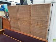 Sale 8593 - Lot 1047 - Wicker Three Panel Wall Screen