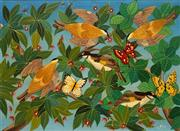 Sale 8665 - Lot 518 - Milan Todd (1922 - ) - Untitled (Birds and Butterflies) 60 x 89.5cm