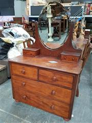 Sale 8724 - Lot 1018 - Antique Mirrored Back Dressing Chest with 6 Drawers
